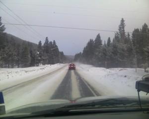 Driving on Snow road in Breckenridge Colorado